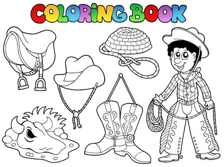 coloring book: Coloring book country collection illustration.