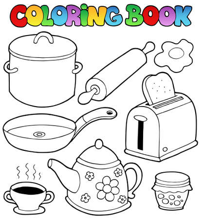 cooker: Coloring book domestic collection illustration. Illustration