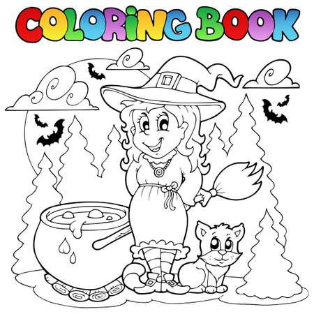 Libro para colorear ilustración del personaje de Halloween. Foto de archivo - 10780634
