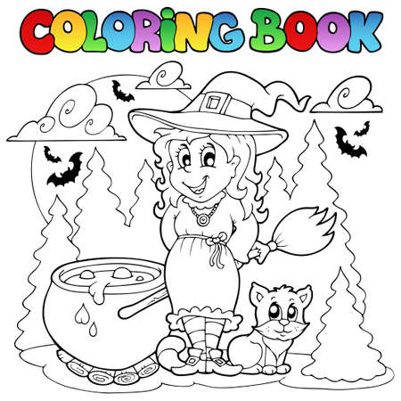 Libro para colorear ilustraci�n del personaje de Halloween. Foto de archivo - 10780634