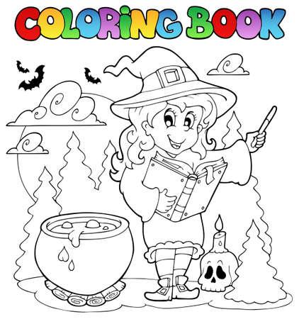 caldron: Coloring book Halloween character illustration. Illustration
