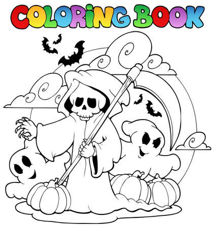 Coloring book Halloween character illustration. Stock Vector - 10780635