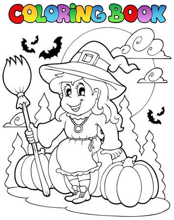 Coloring book Halloween character  illustration. Stock Vector - 10780641