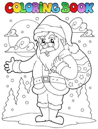 book bag: Coloring book Santa Claus theme illustration.