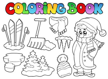 book jacket: Coloring book winter topic illustration.
