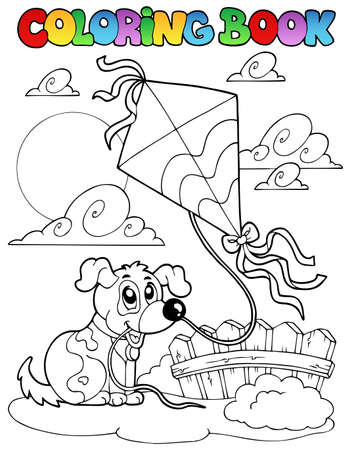 Coloring book with dog and kite illustration. Vector