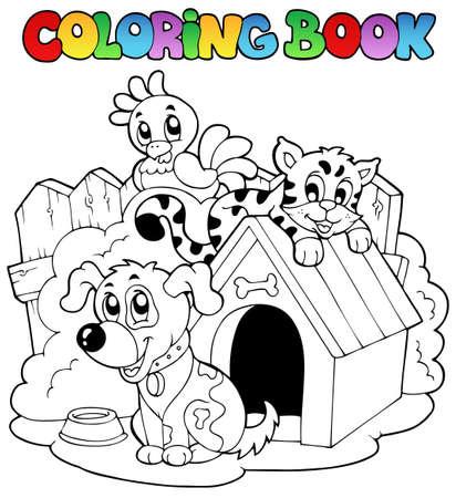 perro caricatura: Libro para colorear con ilustración de animales domésticos.