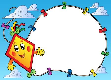 Marco con vuelo ilustración de cometa de dibujos animados.