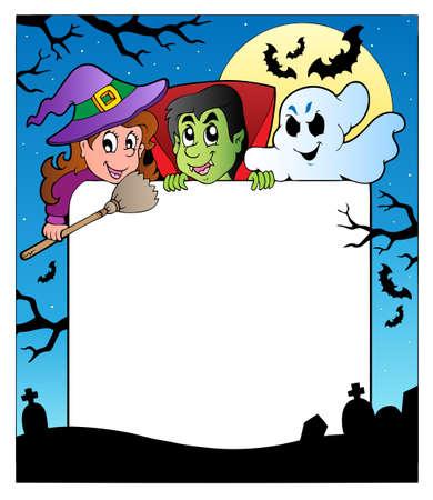 cartoon frame: Telaio con illustrazione di personaggi di Halloween.