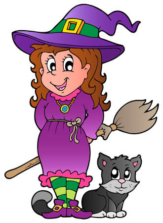 brujas caricatura: Ilustración de imagen de personaje de Halloween.
