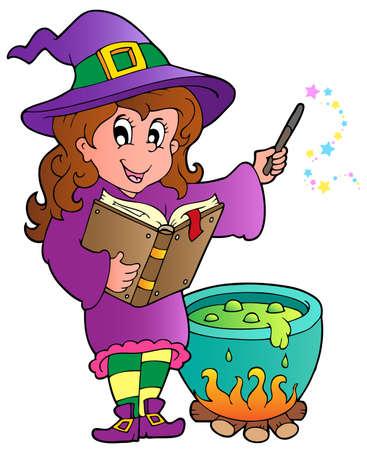 strega: Halloween carattere illustrazione immagine. Vettoriali