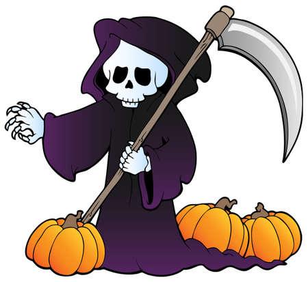 guadaña: Ilustración del personaje de Halloween. Vectores