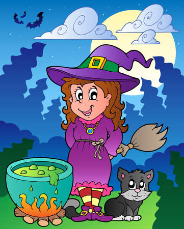 Halloween character scene  illustration. Vector