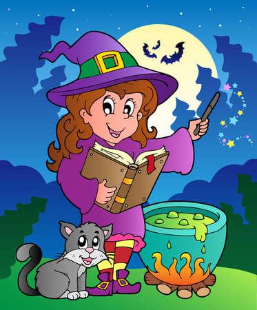 caldron: Halloween character scene  illustration. Illustration