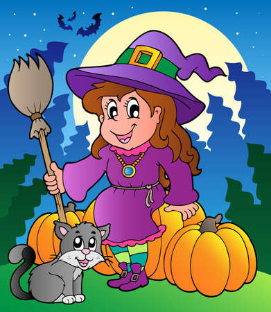 Halloween character scene illustration. Vector