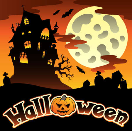 haunted house: Halloween scenery with sign illustration.