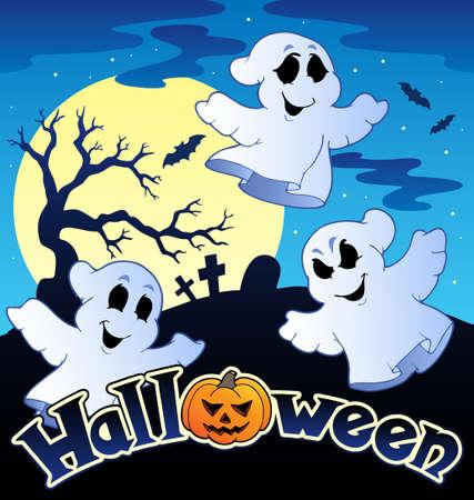 boom halloween: Halloween landschap met teken illustratie.