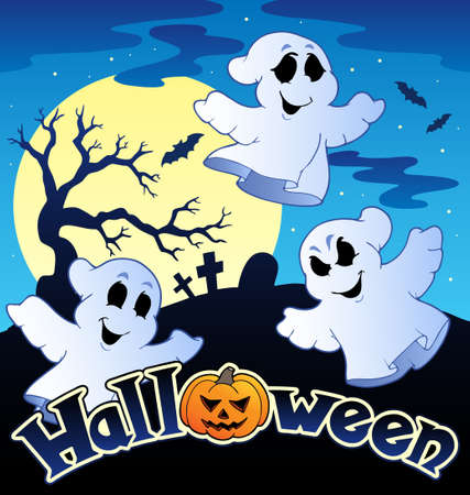 ghost: Halloween scenery with sign illustration.