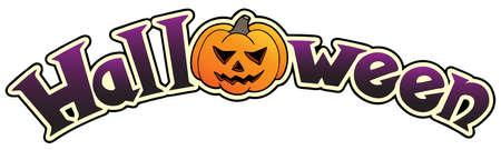 Halloween sign with big pumpkin illustration. Stock Vector - 10780633