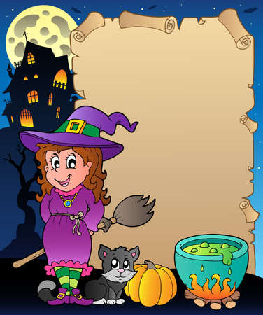 broomstick: Parchment with Halloween theme  illustration.