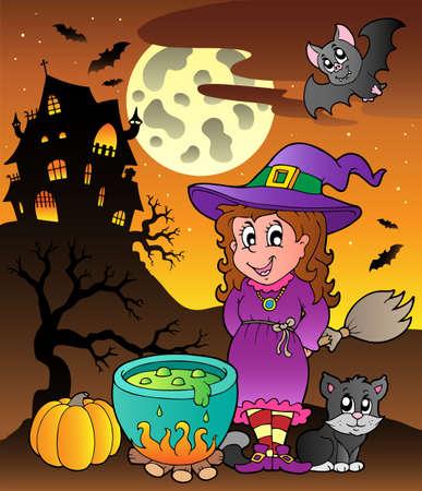 Scene with Halloween theme illustration. Vector