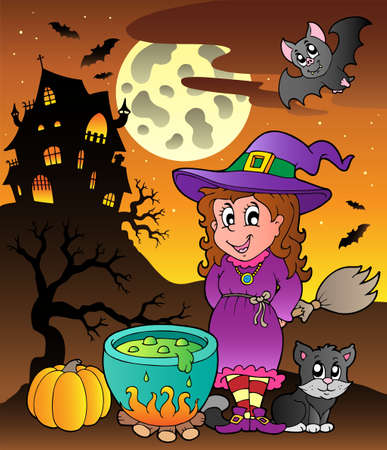 Scene with Halloween theme illustration. Vector