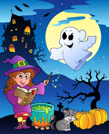 halloween cartoon: Scene with Halloween theme illustration. Illustration