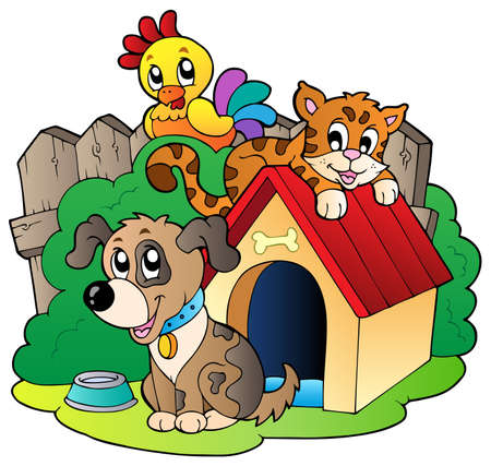 dog kennel: Three domestic animals  illustration. Illustration