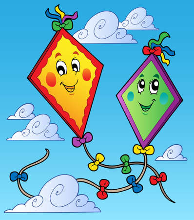 Two flying kites on blue sky illustration. Vector
