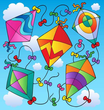 Various flying kites on blue sky  illustration. Ilustração