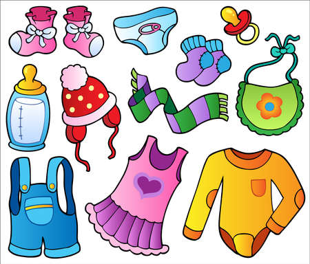 ropa de beb�: Colecci�n de ropa de beb� - ilustraci�n vectorial.