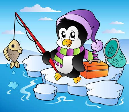 cartoon penguin: Cartoon fishing penguin - vector illustration. Illustration