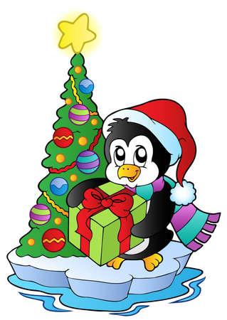 pinguino caricatura: Dibujos animados de ping�inos, con �rbol de Navidad - ilustraci�n vectorial.