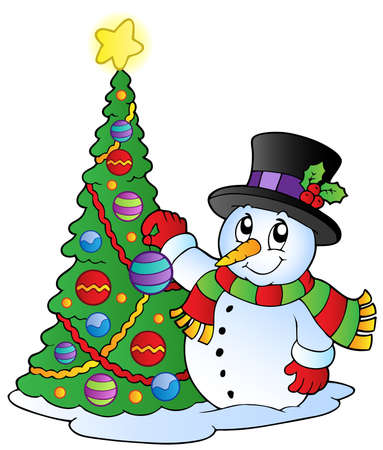 decorating christmas tree: Cartoon snowman with Christmas tree - vector illustration.