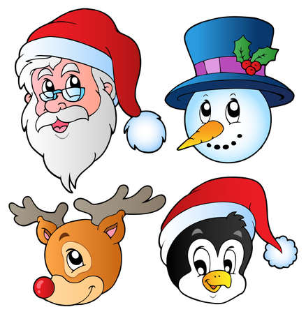 cartoon penguin: Christmas faces collection 3 - vector illustration.