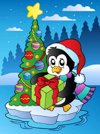 tranquil scene: Christmas scene with penguin - vector illustration.