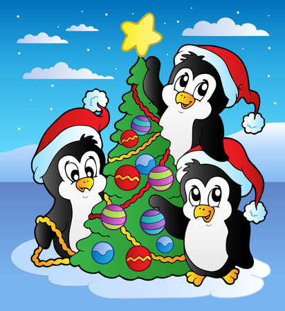 cena: Christmas scene with three penguins - vector illustration.