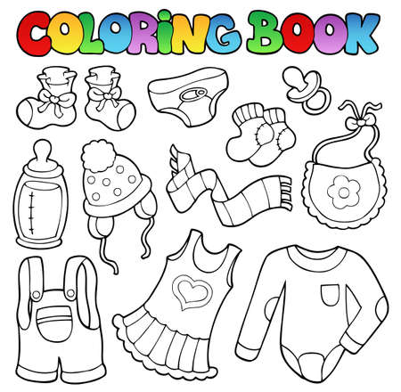 Coloring book baby clothes - vector illustration. Vector