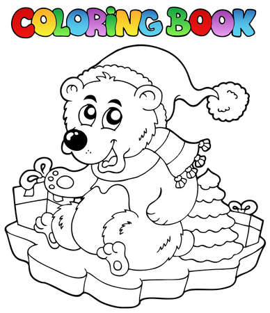 Coloring book Christmas bear - vector illustration. Vector