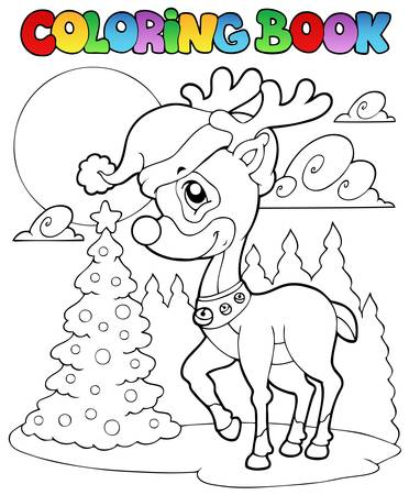 Coloring book Christmas deer 1 - vector illustration. Vector