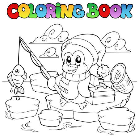 coloring book: Coloring book fishing penguin - vector illustration.