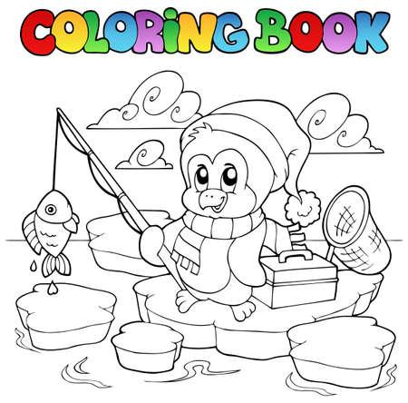 ice fishing: Libro para colorear pesca ping�ino - ilustraci�n vectorial.