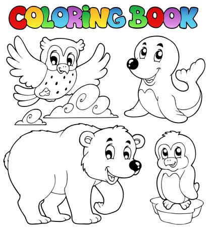 oso caricatura: Animales de invierno feliz para colorear libro - ilustraci�n vectorial.
