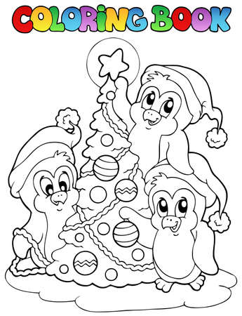 Coloring book penguins and tree - vector illustration. Vector