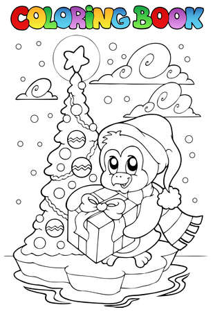 Coloring book penguin holding gift - vector illustration.