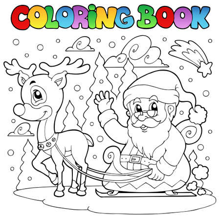 Coloring book Santa Claus theme 4 - vector illustration. Vector
