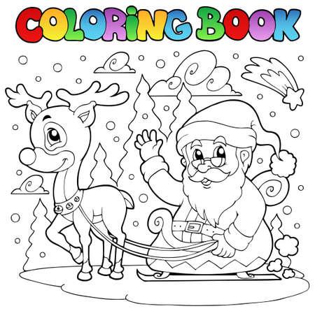 papa noel en trineo: Libro para colorear Santa Claus tema 4 - ilustración vectorial. Vectores