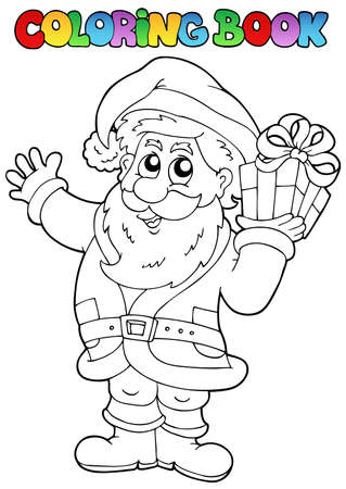 Coloring book Santa Claus topic 1 - vector illustration. Vector