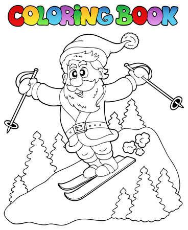sporting: Coloring book Santa Claus topic 3 - vector illustration. Illustration