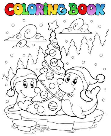 Coloring book two seals with tree - vector illustration. Vector